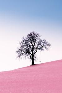 1125x2436 Tree Pink Desert 10k