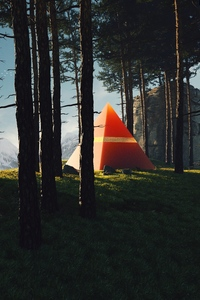 Triangle Pyramids In Middle Of Forest