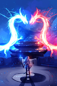 Twin Dragons Warrior Girl Artwork
