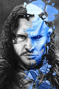 320x480 Two Face Jon Snow White Walker Splatter Portrait 5k