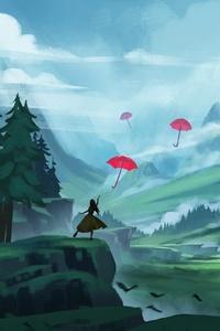 Umbrella Anime Artistic Artwork 5k