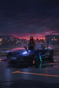 2160x3840 Urban Girl Sitting On Mercedes Bonnet