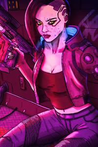 320x568 V Character Cyberpunk Girl 5k