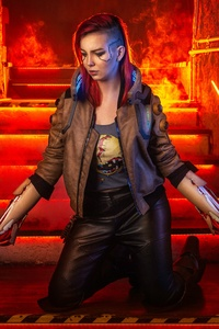 480x800 V In Cyberpunk 2077 Cosplay