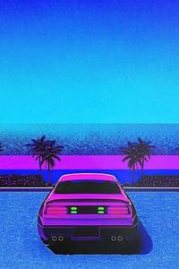 Vaporwave Retro Car At Beach 4k