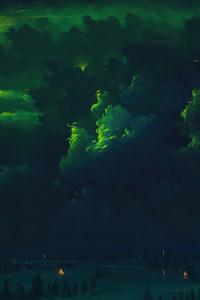Verdant Sky Clouds Aurora 4k