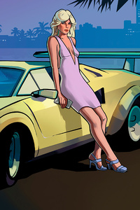 800x1280 Vice City Stories Girl With Lamborghini Countach