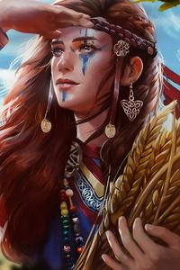 1440x2960 Viking Girl 4k Art