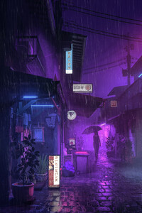 1280x2120 Village Street Neon Girl Umbrella
