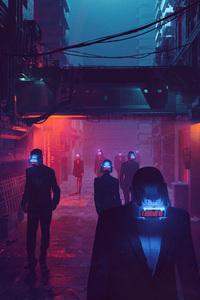 Virtual Reality People Street Scifi Cyberpunk