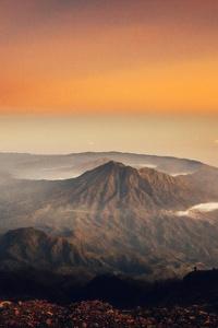 1280x2120 Volcano Sunset Landscape 4k
