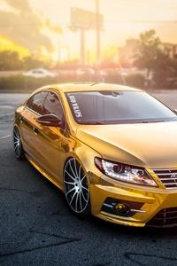 1080x2280 Volkswagen Passat Gold Wrap