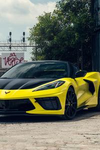 Vossen Yellow And Black Corvette C8 8k