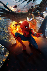 320x568 Vulture And Iron Man Spiderman Homecoming Chinese