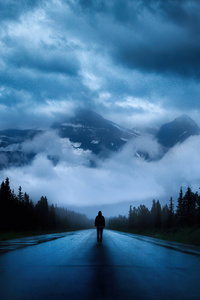 640x960 Walking Alone Road 4k