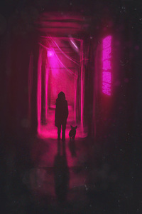1125x2436 Walking In Neon Alley