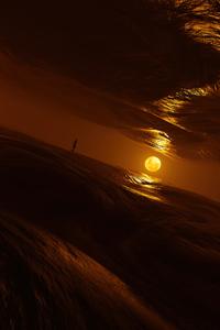 800x1280 Walking On Waves Moonlight 4k