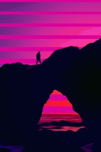 240x320 Walking Over Rocks Retrowave