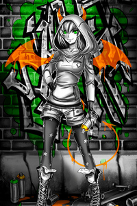 1280x2120 Wall Graffiti Coloring Girl 4k