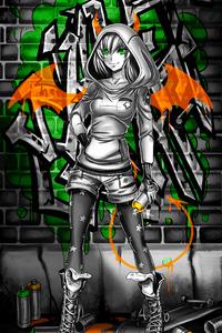 640x1136 Wall Graffiti Coloring Girl 4k