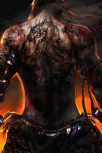 1280x2120 Warrior Back Tattoo Katana