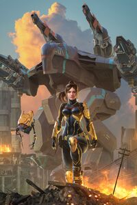 540x960 Warrior Fantasy Girl With Robot 4k