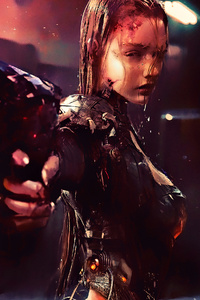 Warrior Girl Cyberpunk Futuristic Artwork