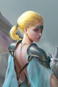 1242x2688 Warrior Girl Dragon