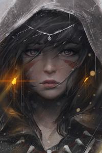 Warrior Girl Hood Artwork