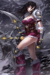 Warrior Girl In Snow Wind Storm