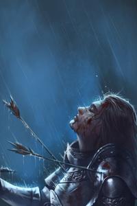 640x960 Warrior Girl Killed By Arrow Sword Rain
