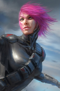 1440x2960 Warrior Girl Sci Fi Cyberpunk Futuristic Artwork 4k
