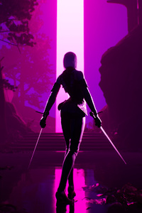 1080x1920 Warrior Girl Sharp Sword Synthwave 4k