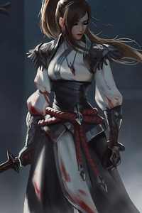 320x568 Warrior Girl Sword Artwork 4k