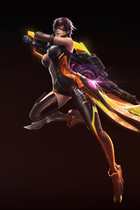 1242x2688 Warrior Girl With Big Weapons 4k