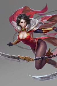 640x1136 Warrior Girl With Flying Knife