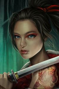 640x960 Warrior Girl With Sword 4k
