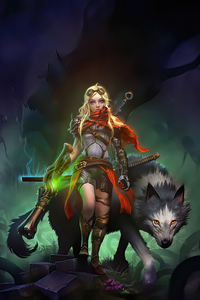 1440x2960 Warrior Girl With Wolf 4k