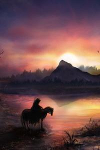Warrior Horse Birds Flying Sunrise Landscape View