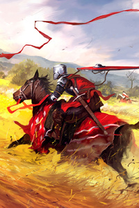 2160x3840 Warrior In Field Horse Hunting Civilians