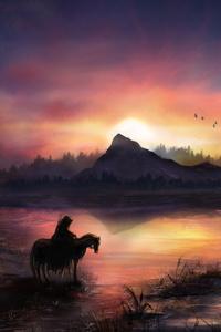 Warrior On Horse Sunrise Nature Fantasy 4k
