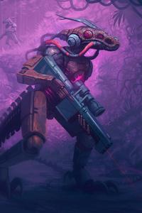 Warrior Robot With Dinosaur
