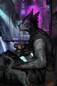 1125x2436 Warrior Scifi Neon Rain City Cyberpunk 4k