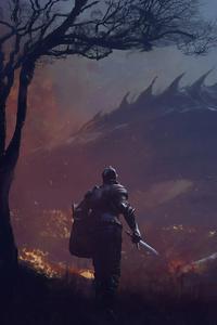 480x800 Warrior With Sword Dragon