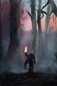 Warrior With Sword In Jungle