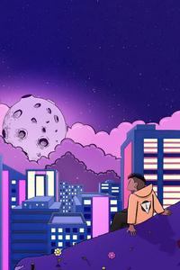 720x1280 Watching The Lofi Moon 4k