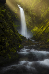 240x320 Waterfall Forest Morning Sun Beams 8k