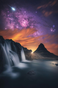 1080x2160 Waterfall Glowing Sky Stars Mountains 5k