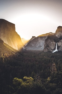 320x480 Waterfall Light Flare Nature Outdoors Yosemite 5k