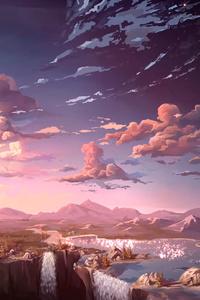 1280x2120 Waterfall Sunset Landscape Artist